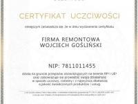 Wojciech-Goslinski-opinie-firma-remontowa-certyfikat-uczciwosci