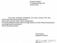 Wojciech Goslinski - referencje - Malgorzata Szelerska