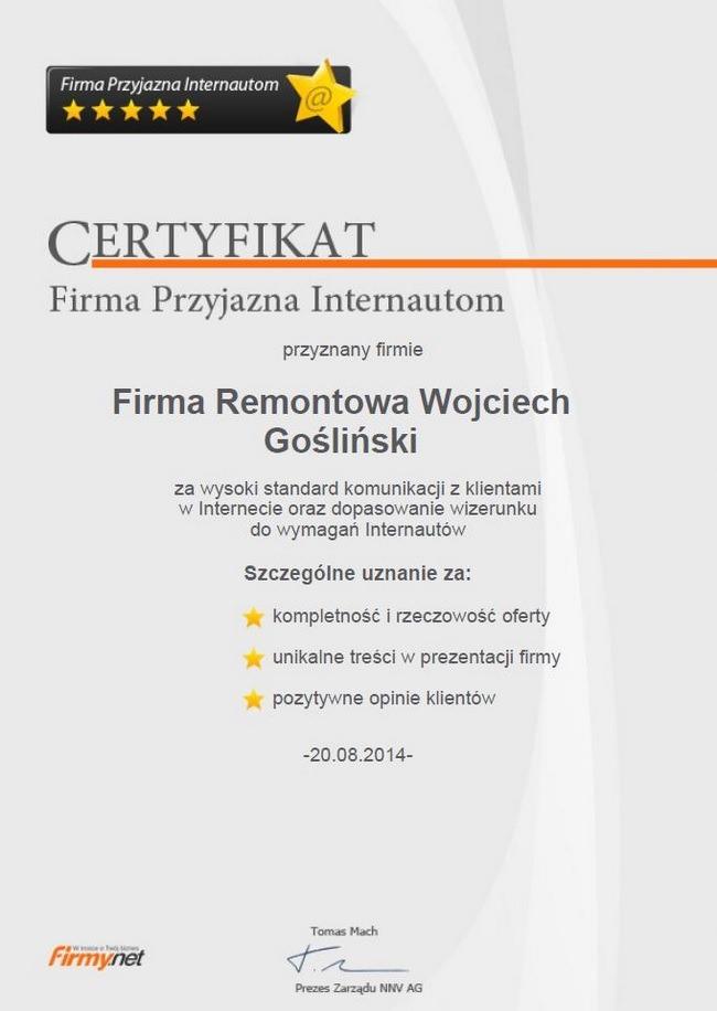 Wojciech-Goslinski-opinie-firma-remontowa-certyfikat-firma-przyjazna-internautom