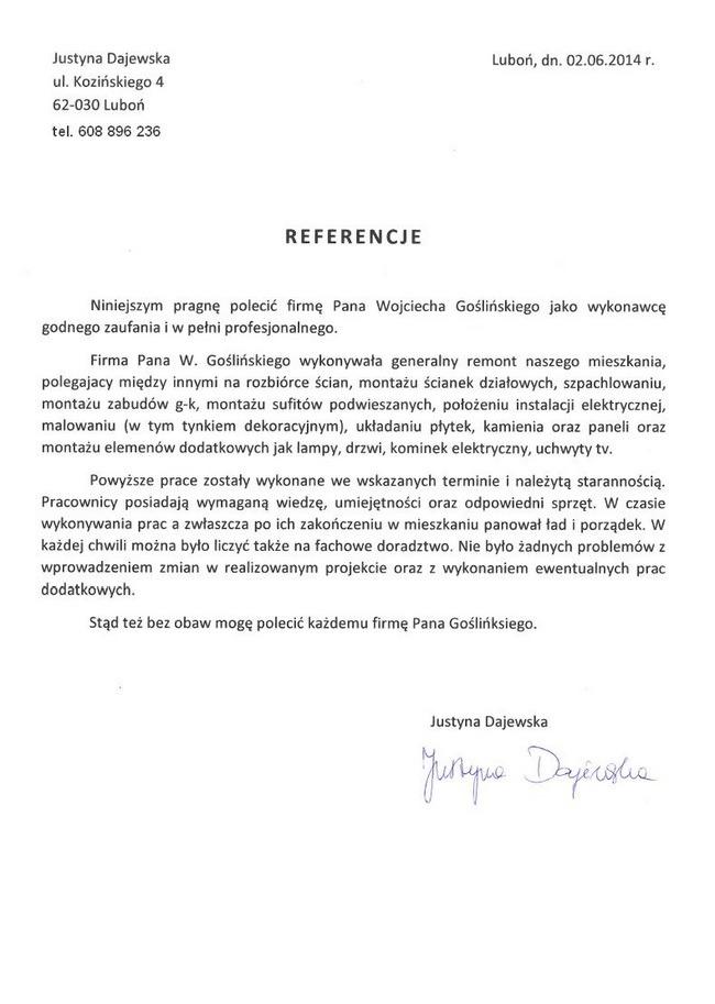 Wojciech-Goslinski-referencje-Justyna-Dajewska