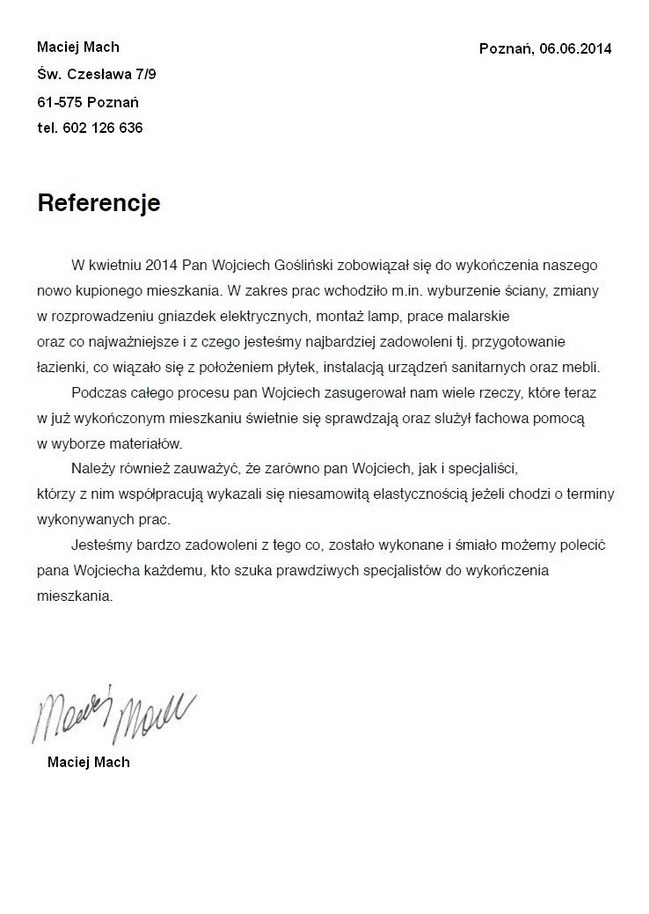 Wojciech-Goslinski-referencje-Maciej-Mach