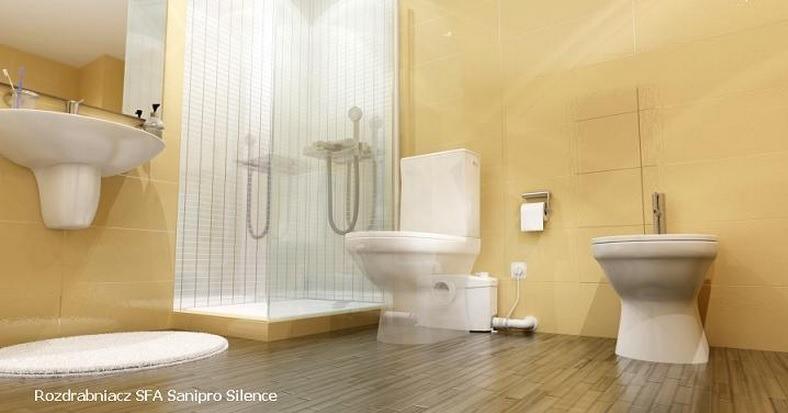łazienka poniżej spadku do kanalizacji urządzenia rozdrabniająco przepompowujące