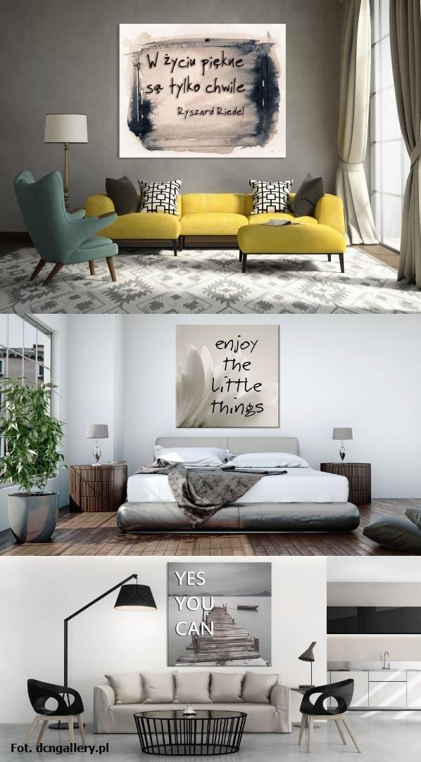 Tekst jako element dekoracyjny na ścianie.