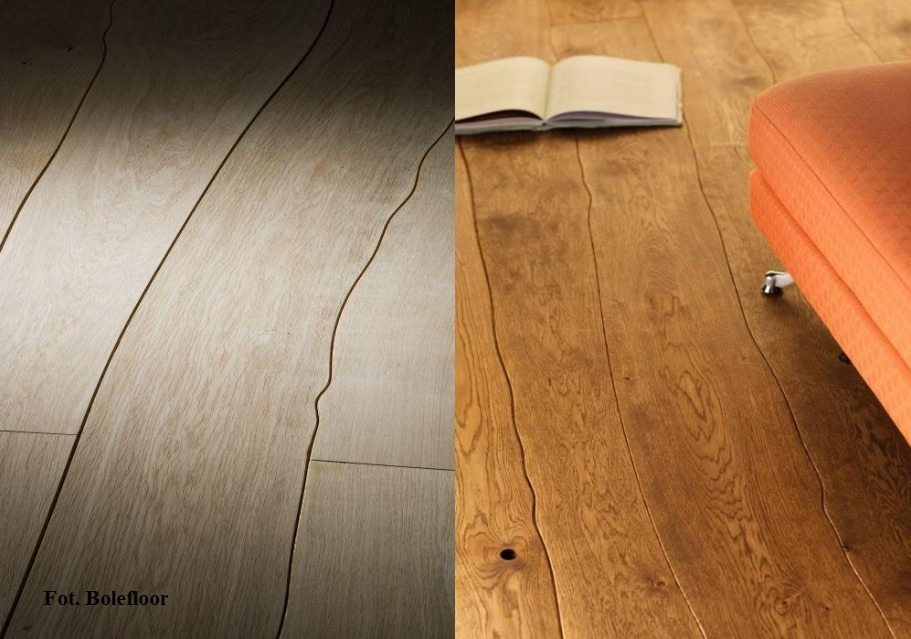 Deski podłogowe o naturalnie zakrzywionych krawędziach.